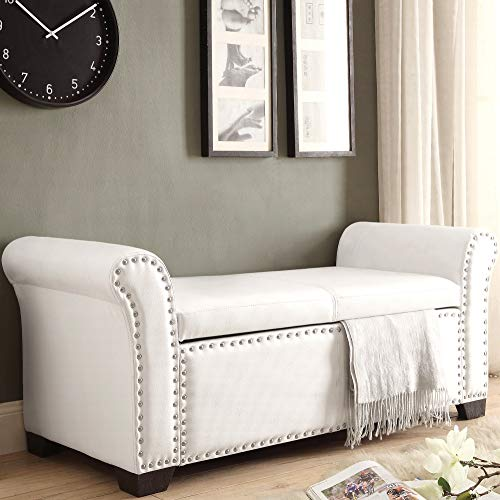 Inspired Home Noah PU Leather Modern Contemporary Nail Head Trim Storage