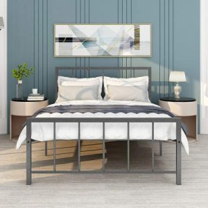 HOMERECOMMEND Metal Bed Frame Full Size Platform with Headboard