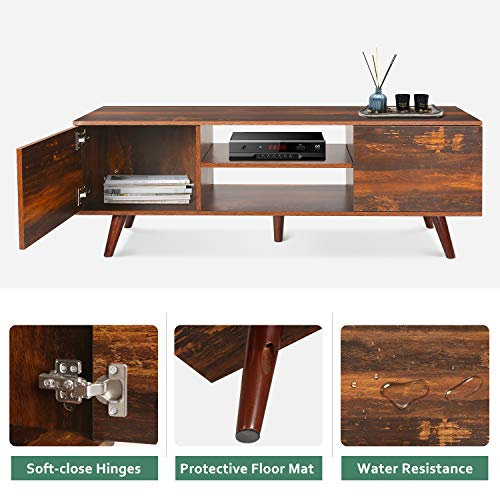 """WLIVE Mid-Century Modern TV Stand for 55"""" TV, TV Console WLIVE Mid-Century Modern TV Stand for 55"""" TV, TV Console, Retro Entertainment Center in Living Room, Entertainment Room, Office, Rustic O9 Oak"""