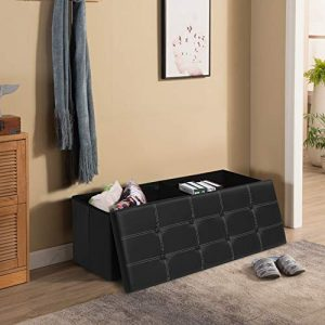 KINGSO Ottoman Storage Seat Bench Foldable Faux Leather Footrest Bed Bench