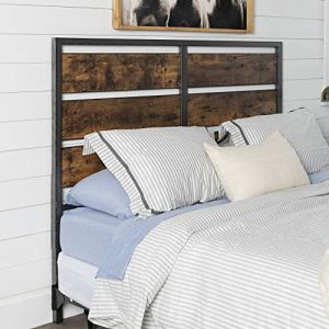 Walker Edison Furniture Company Rustic Metal Slatted Queen Headboard