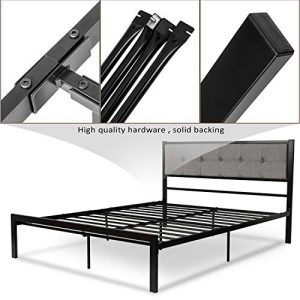 Queen Upholstered Bed Frame/Platform Bed withTufted Headboard/Mattress Foundation/Box Spring Optional/Strong Metal Slat Support