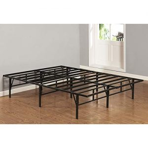 K and B Furniture Co Inc Full-Size Black Metal Platform Bed Frame