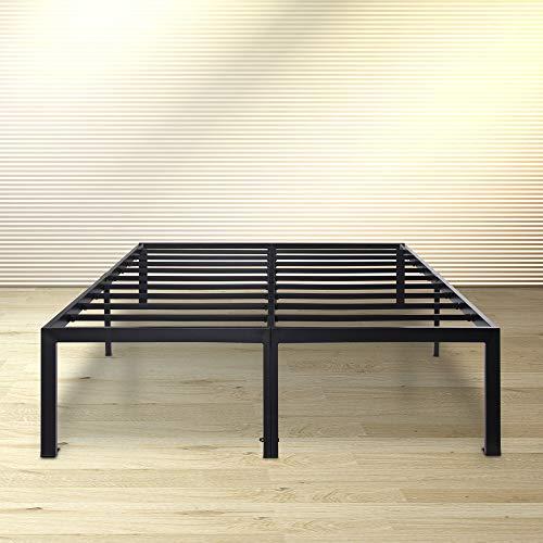 Olee Sleep 18 Inch Tall Heavy Duty Steel Slat/ Anti-slip Support/ Easy Assembly/ Mattress Foundation/ Maximum Storage/ Noise Free/ No Box Spring Needed, Black