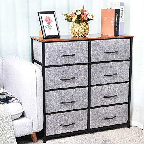 KINWELL Extra Wide Fabric Storage Organizer Clothes Drawer Double Dresser