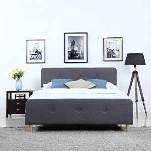 Divano Roma Furniture Mid-Century Modern Linen Fabric Low Profile Bed Frame