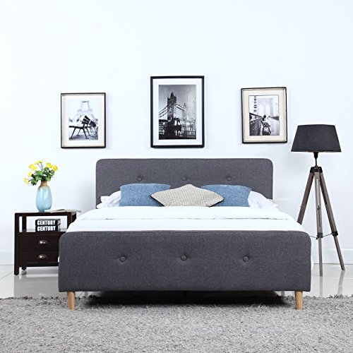 Divano Roma Furniture Mid-Century Modern Linen Fabric Low Profile Bed Frame