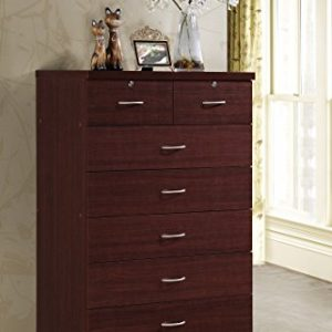 Hodedah 7 Drawer Chest, Five Large Drawers, Two Smaller Drawers