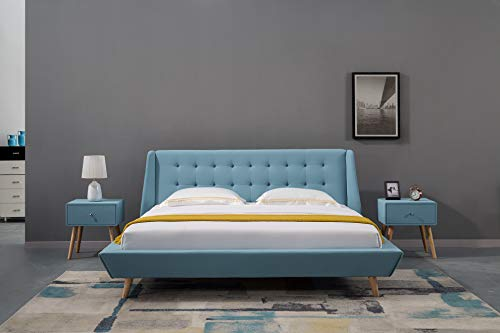 American Eagle Furniture Mid Century Upholstered Platform Bed