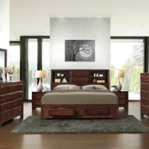Roundhill Furniture Asger Wood Bed Room Set, King, Antique Oak Finish