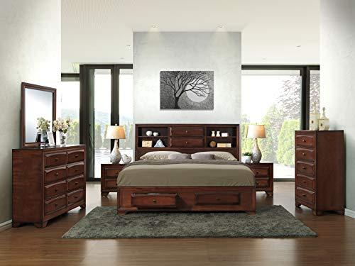 Roundhill Furniture Asger Wood Bed Room Set, King, Antique Oak Finish