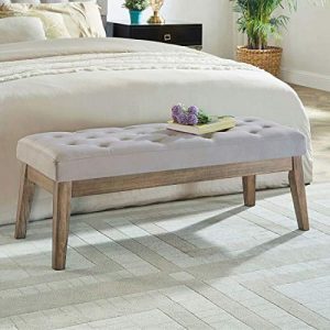 24KF Velvet Upholstered Tufted Bench with Solid Wood Leg,Ottoman