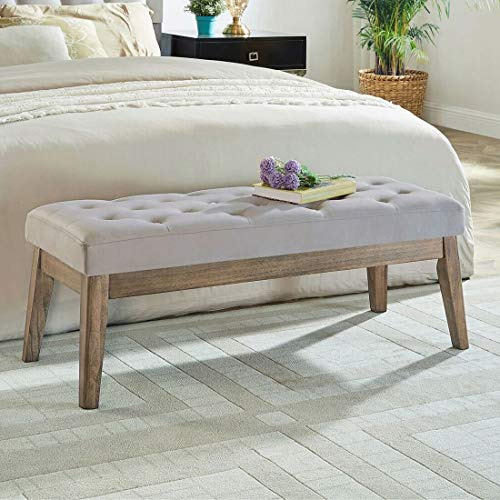 24KF Velvet Upholstered Tufted Bench with Solid Wood Leg,Ottoman