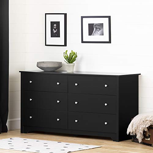 South Shore Vito Collection 6-Drawer Double Dresser, Black with Matte Nickel