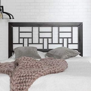 Walker Edison Furniture Company Rustic Metal and Wood Slatted Queen Headboard