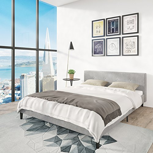 San Francisco Queen Bed Frame | Upholstered Low Profile Headboard + Platform Bedframe | Gray Linen Modern Style Silver Grey Cloth Bedroom Mattress Furniture + Soft Wood Footboards, Slats, Box Included