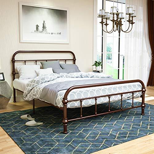 LAGRIMA Reinforced Metal Queen Size Bed Frame, Platform Bed