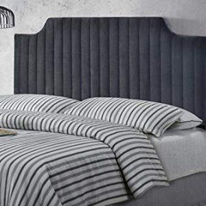 Full Queen Adjustable Size Velvet Upholstered Stitched Headboard with Vertical Line Design - Grey