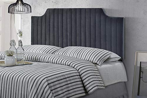 Full Queen Adjustable Size Velvet Upholstered Stitched Headboard with Vertical Line Design - Grey
