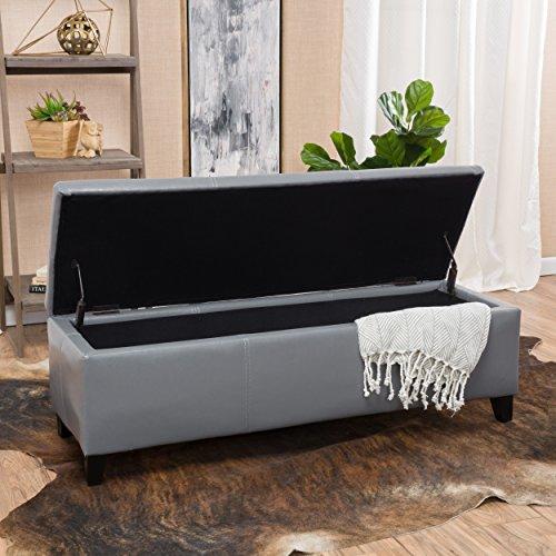 Christopher Knight Home Living Skyler Grey Leather Storage Ottoman Bench