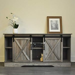 "Rainbow Sophia Forest Series Wooden TV Stand with Sliding Barn Door for TVs up to 65"" (Washed Oak)"
