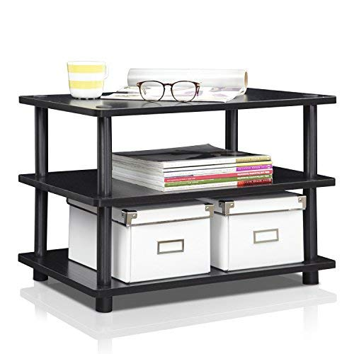 FURINNO Turn-N-Tube Easy Assembly 3-Tier Corner TV Stand, Blackwood/Black