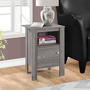 "Monarch Specialties ACCENT TABLE-GREY NIGHT STAND WITH STORAGE, 17.25"" L x 14"" D x 24.25"" H"