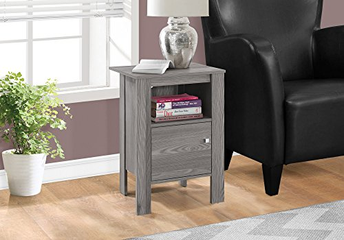 """Monarch Specialties ACCENT TABLE-GREY NIGHT STAND WITH STORAGE, 17.25"""" L x 14"""" D x 24.25"""" H"""