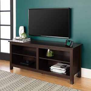 "WE Furniture Minimal Farmhouse Wood Universal Stand for TV's up to 64"" Flat Screen Living Room Storage Shelves Entertainment Center, 58 Inch, Espresso"