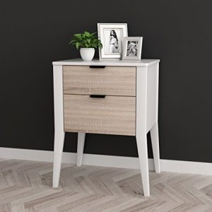 "White/Sonoma Finish Oak Side End Table Nightstand with Two Storage Drawer 26"" H"