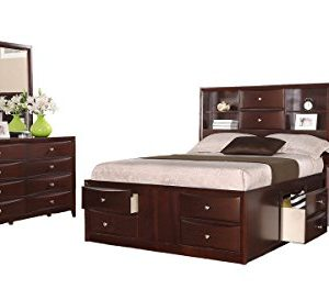 Crown Mark Emily Bedroom Set with Queen Bed, Nightstand, Dresser and Mirror
