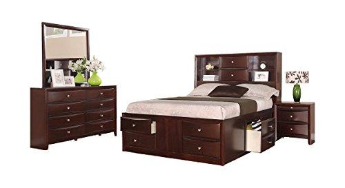 Crown Mark Emily Bedroom Set with Queen Bed, Nightstand, Dresser and Mirror
