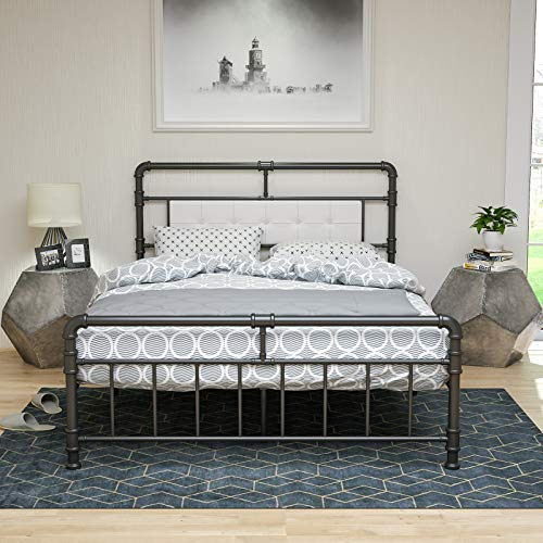 LAGRIMA Classic Reinforced Metal Bed Frame Full Size with Vintage Upholstered Headboard and Footboard, Premium Heavy Duty Steel Slat Support, Full, Black