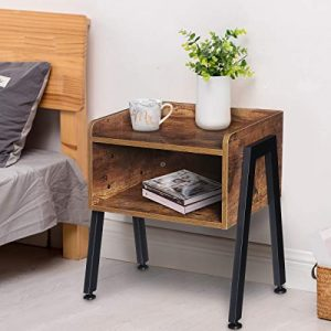 KingSo Industrial Nightstand End Table Stackable Side Table Night Stands for Bedrooms Cabinet for Storage Sofa Bed Side Table for Small Spaces Wook Look Accent Furniture with Metal Frame