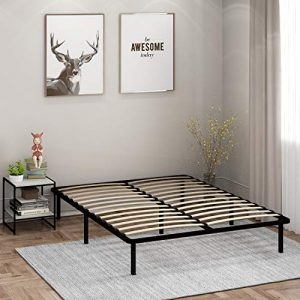 Furinno Angeland Cannet Metal Platform Bedframe, Queen, Black