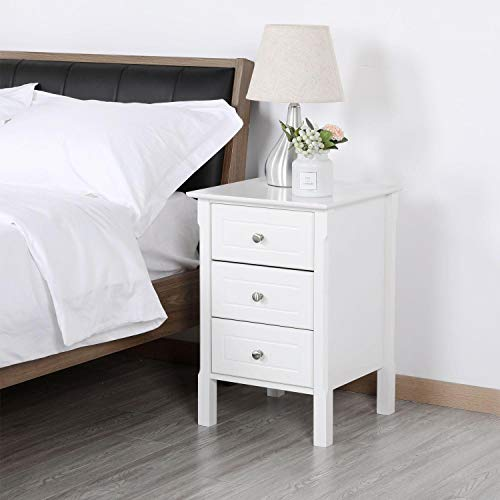 Yaheetech White Wood Nightstand 3 Drawers Bedside Table Cabinet with Solid Wood Legs Bedroom Furniture