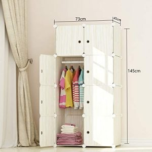 MEGAFUTURE Wood Pattern Portable Wardrobe Closet for Hanging Clothes