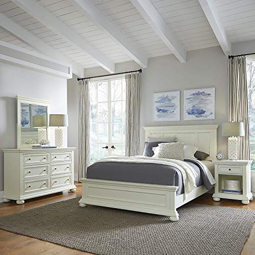 Home Styles Dover White Queen Bed with Night Stand, Dresser and Mirror
