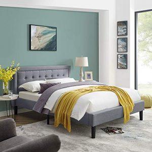 Classic Brands Mornington Upholstered Platform Bed | Headboard and Metal Frame