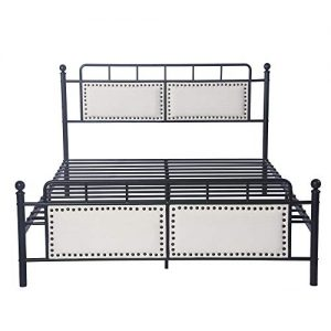 LUCKYERMORE Metal Queen Bed Frame with Upholstered Headboard & Footboard