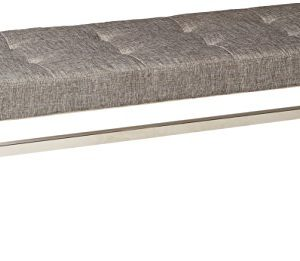 Homelegance Metal Base Bench, Grey
