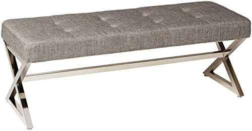 Homelegance Metal Base Bench, Grey