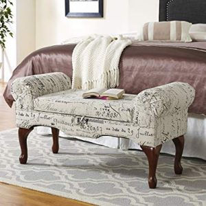 Roundhill Furniture Lilion Storage Arm Bench with English Script Print