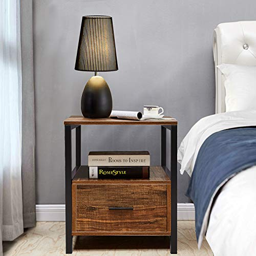 VECELO Modern Rectangular Wood Nightstand Side/End/Coffee/Accent Table