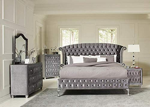 Coaster Home Furnishings Upholstered Bed, Grey Metallic