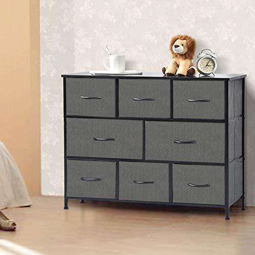 NSdirect 8 Drawer Dresser-Wide Fabric Dresser for Bedroom, Closets, Hallway