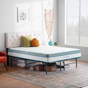 Linenspa14 Inch FoldingMetalPlatform Bed Frame - 13 Inches of Clearance - Tons of Under Bed Storage - Heavy Duty Construction - 5 Minute Assembly- Twin