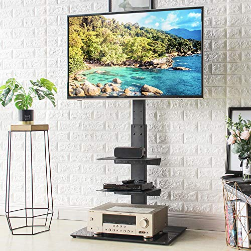 Rfiver Universal Floor TV Stand with Swivel Mount and Adjustable Media Shelves for 32 37 43 47 50 55 60 65 inch Flat/Curved Screen TVs, Internal Wire Management and Tempered Glass Base, Black TF2002