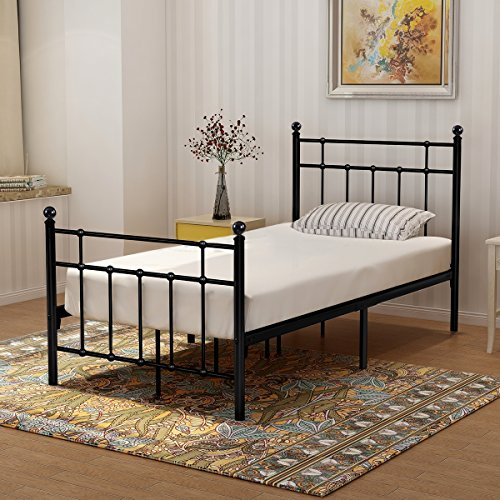 Buff Home Metal Bed Platform Frame with Steel Headboard and Footboard Mattress