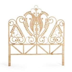 KOUBOO Peacock Rattan Headboard, Queen Size, Natural Color